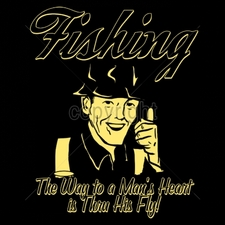 Wholesale Custom Printed Funny Vintage T Shirts - 16549-11x14-fishing-way-mans-heart-thru-his-fly