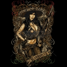 Wholesale Custom Printed Gun T Shirts - 13320-13x19-bandolera-girl-rifle