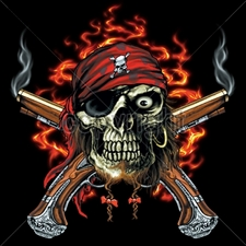 Wholesale Clothing Apparel - Bulk T Shirts Gun - 13483-13x14-pirate-skull-pistols
