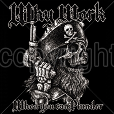 Wholesale Clothing Apparel - Gun T Shirts - 14043-13x14-pirate-pirates-why-work-plunder-skull-gun