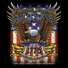 Wholesale T Shirts, Military T Shirts - 15027-11x14-united-states-navy-est-1775-honor-courage-only-easy-day-wa