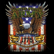 Wholesale Custom Printed Military T Shirts - 15029-11x14-united-states-army-est-1775-honor-duty-well-defend