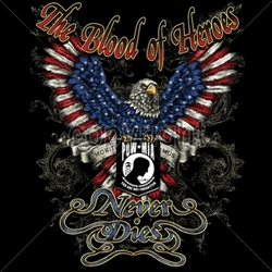 Wholesale Patriotic Shirts - Blood-heroes-never-dies-pow-mia T Shirts Bulk - 13640-14x17