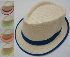 Bulk Products Cheap - HT321. Woven Fedora Hat [Neon Hat Band and Edging]