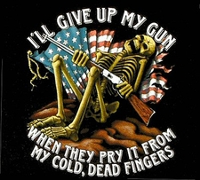 Ill Give Up My Gun T Shirts - Flag Skeleton - S24
