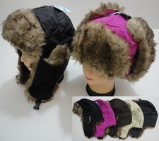 Wholesale Hats Bulk Winter - WN218. Bomber Hat with Fur Lining--Solid Color