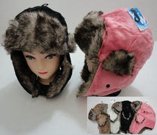 Wholesale Hats Bulk Winter - WN545. Plush Bomber Hat with Fur Lining