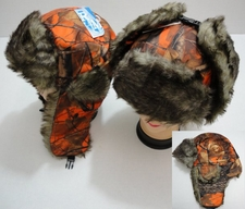Wholesale Hats Winter - WN647. Bomber Hat with Fur Lining--Orange Camo