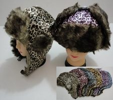 Wholesale Hats Winter - WN650. Bomber Hat with Fur Lining [Cheetah Print]