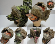 Wholesale Hats Bulk Winter - WN671. Bomber Baseball Hat with Fur [Hardwoods Camo]