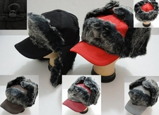 Wholesale Hats Winter - WN672. Bomber Baseball Hat with Long Fur [Solid]