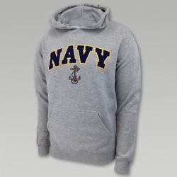 Navy Hoodies, Military Hoodies - navy-arch-anchor-hood-grey