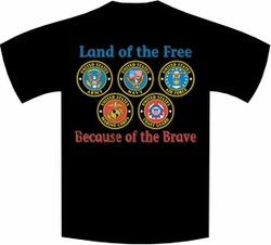 Wholesale Military Patriotic T Shirts Bulk - Land Of The Free Because Of The Brave