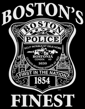 Wholesale Boston Police T-Shirts - 3843 Bostons Finest wht ink