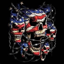 Wholesale Military T Shirts - Patriotic Skulls Flag USA