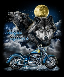 Wholesale Native Pride American T Shirts Moon Wolf Biker Clothing - T35