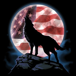 Wholesale Patriotic Wolf Printed Graphic T Shirts Bulk Suppliers - 20288D1