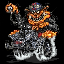 Wholesale T Shirts - Funny Cartoon 12x13-hot-rod-pig