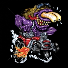 Wholesale Car T Shirts - Funny Cartoon 18027-11x14-purple-monster-red-hot-rod