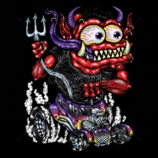 Wholesale Car T Shirts - Funny Cartoon 18030-11x14-red-monster-purple-hot-rod