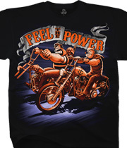 Wholesale Biker T Shirts Graphic Suppliers Funny - Feel the Power Black T-Shirt