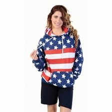 Wholesale Women's Fashion Clothing - AMERICAN FLAG HOODED FLEECE SWEATSHIRT 29.99