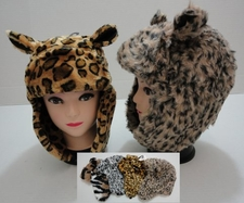 Wholesale Hats Bulk Winter - WN549. Plush Bomber Hat with Fur Lining--Animal Print with Ears