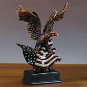 Patriotic Bald Eagle Clutching Flag Statue with Base, 10 inches H