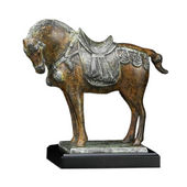 "Overlooking ""Tang"" Horse Statue Brass Finish, 10 inches H"