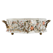 Porcelain Jasmine Star Pattern with Bronze Ormolu Planter 22 in. L