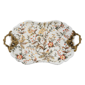 Porcelain Jasmine Star Pattern with Bronze Ormolu Tray 22 in. L