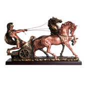 Roman Soldier Chariot with Horse Wagon Statue, 15 inches H (L)