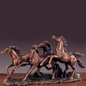 Running Four Horses Bronze Finish Statue, 8.5 inches H