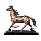 Running Mustang Copper Finish Sculpture with Marble Base, 12.5 inches H