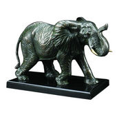 Walking Elephant Sculpture Brass Finish on Wood Base, 9.5 inches H