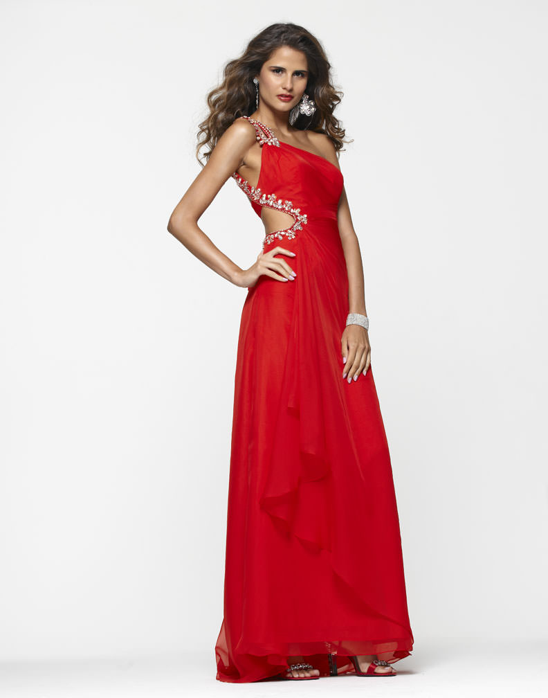 Clarisse 2013 Apple Red One Shoulder Cut Out Beaded Chiffon Prom ...