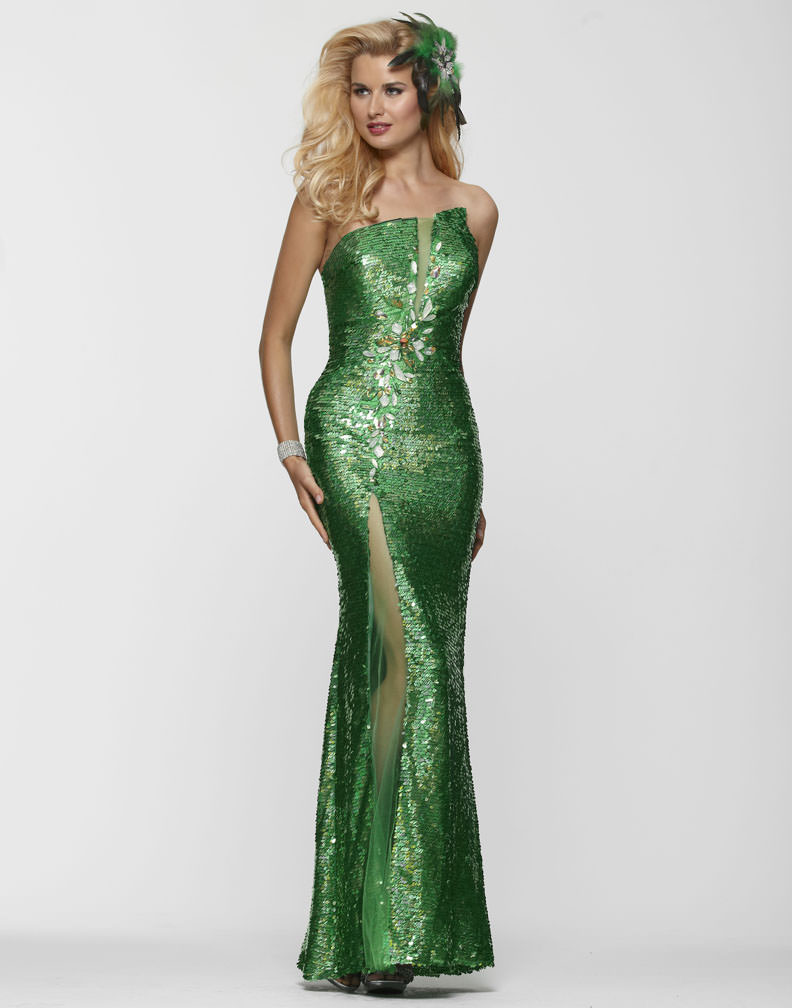 clarisse 2013 emerald green strapless sequin beaded prom