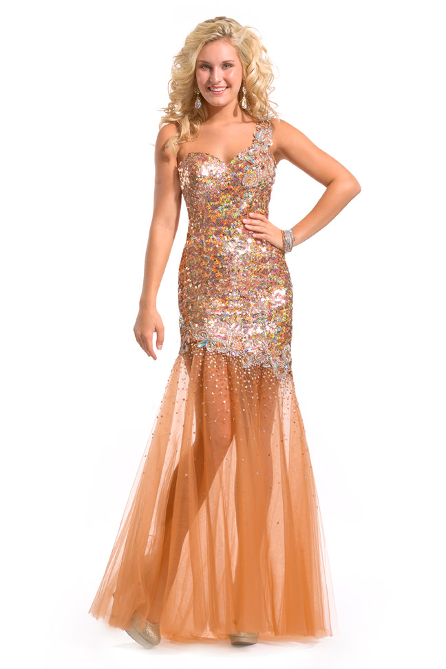 party time formals 2013 copper one shoulder sheer skirt