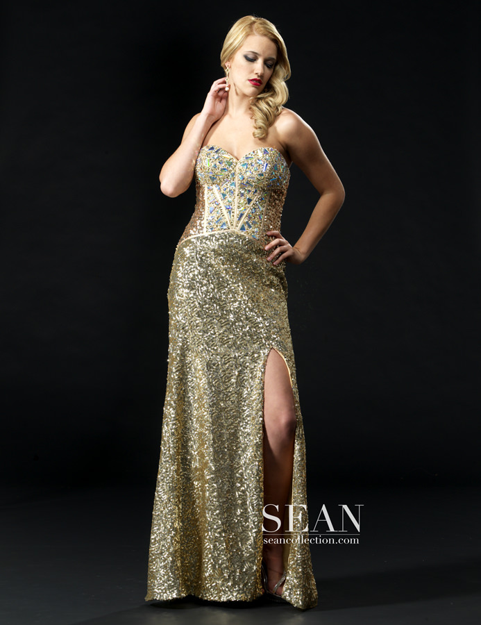 Sean Collection 2013 Gold Sequin Corset Style Lace Up Back beaded ...