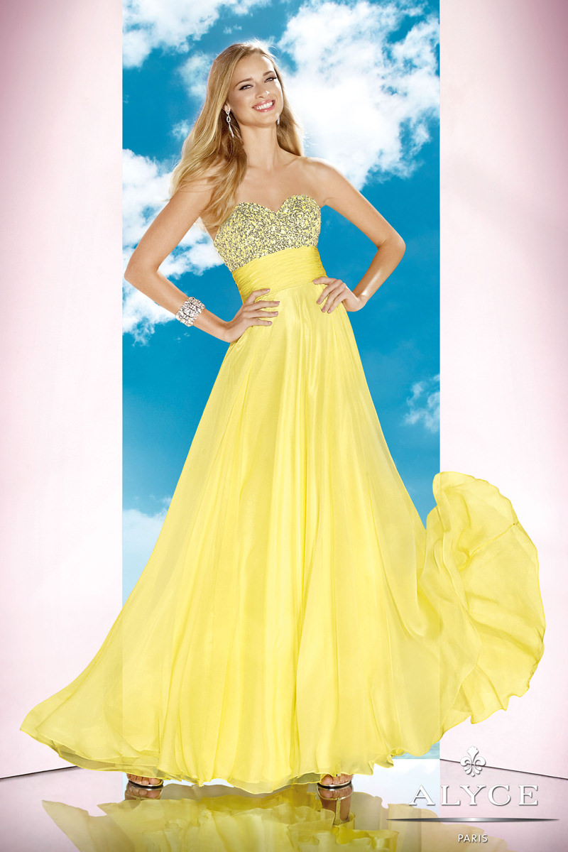 Alyce 2014 Citrus Yellow Beaded Strapless Long A-line Prom Dress ...