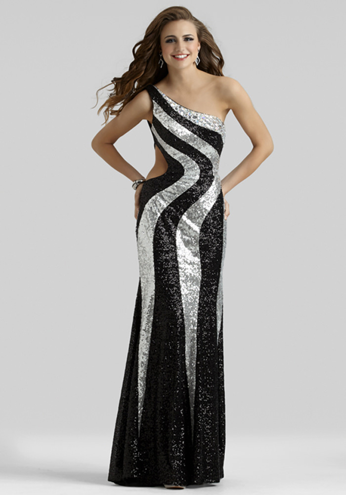 Clarisse 2014 Black Silver Sequin One Shoulder Open Back Long Prom ...