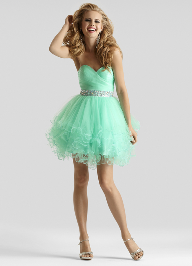 Clarisse 2014 mint pink blue short tulle prom dress 2303 promgirl
