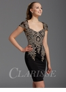 Clarisse Black and Gold Cocktail Dress 2942