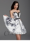 Clarisse Black and White Floral Homecoming Dress 2916