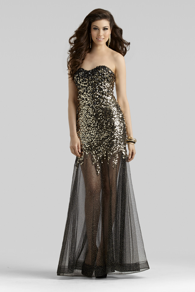 Clarisse 2014 Black Gold Strapless Mermaid Open Back Glitter Tulle ...