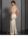 Clarisse Champagne Flutter Sleeve Evening Gown 6302