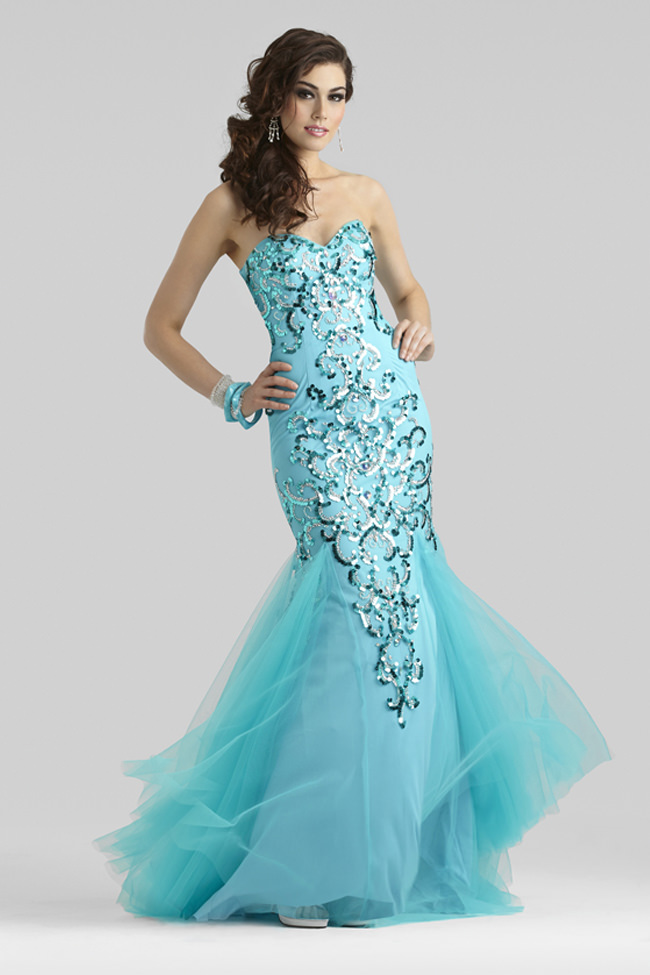 Clarisse Couture 2014 Sweetheart Caribbean Blue Beaded Mermaid ...