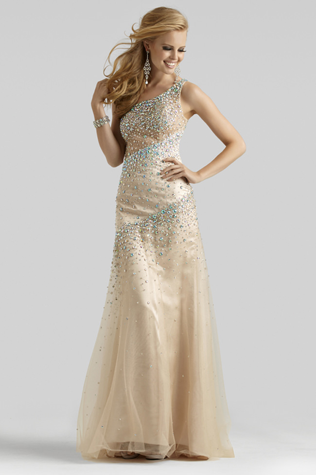 Clarisse Couture 2014 Light Champagne One Shoulder Beaded Sheer ...