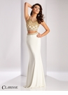 Clarisse Gold Embellished Two Piece Dress 3009