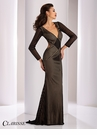 Clarisse Long Sleeve Striped Evening Gown 4850